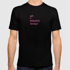 art + industry = design Black Mens Fitted Tee SMALL
