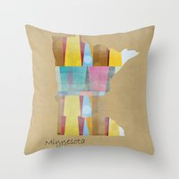Throw Pillows featuring Minnesota state map  by bri.buckley