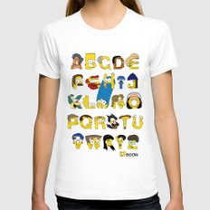 Simpsons Alphabet Womens Fitted Tee White SMALL