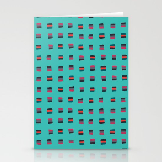 Pixel Pattern turquoise Stationery Card