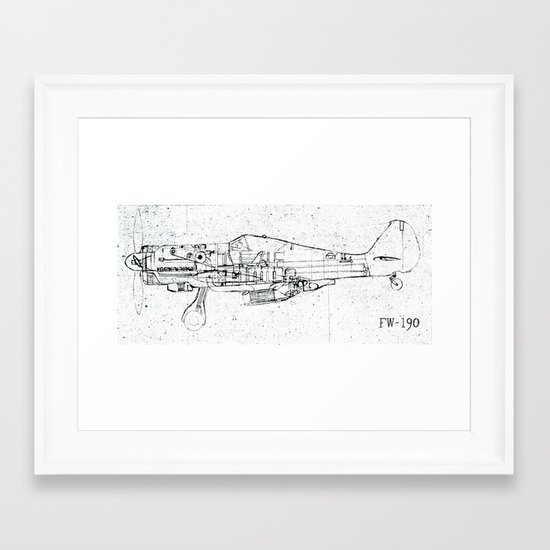 FW - 190 ( B & W) Framed Art Print
