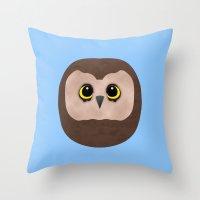 Chubby Little Owl Throw Pillow