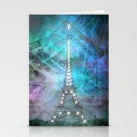 Illuminated Pop Art Eiffel Tower | Graphic Style   Stationery Cards