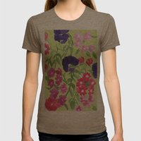 Floral Print Womens Fitted Tee Tri-Coffee SMALL