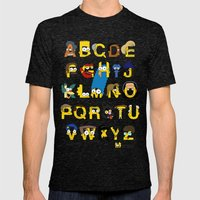 Simpsons Alphabet Mens Fitted Tee Tri-Black SMALL