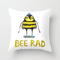 Bee. bee art, bee illustration, nature, illustration, wall, kids, skater, skateboarding, rad,  Throw Pillow
