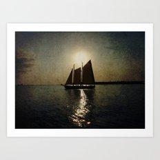 Sailing at twilight Art Print