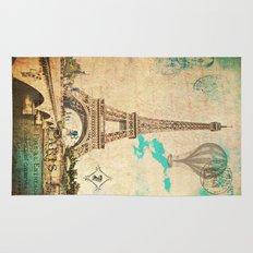 Vintage Eiffel Tower Paris Rug
