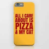 iPhone Cases featuring ALL I CARE ABOUT IS PIZZA & MY CAT (Cheesy Yellow & Tomatoe Red) by CreativeAngel