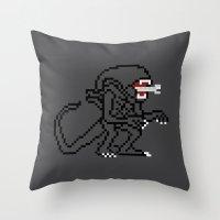 Alien Pixels Throw Pillow