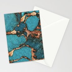 AQUA & GOLD GEMSTONE Stationery Cards