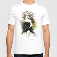 Watercolor Girl Mens Fitted Tee White SMALL