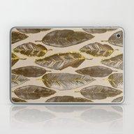 Gold Feather Pattern Laptop & iPad Skin