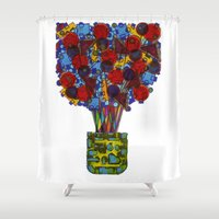 Geometric Flowers Shower Curtain