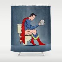 Superhero On Toilet Shower Curtain