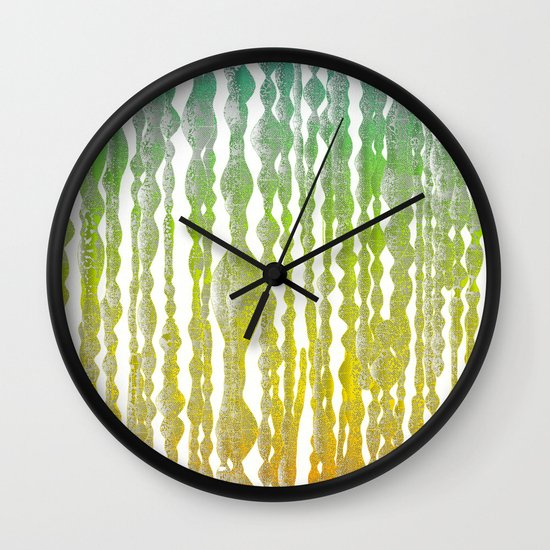 psychedelic stripes - green Wall Clock