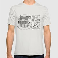 Coffee Mens Fitted Tee Silver SMALL