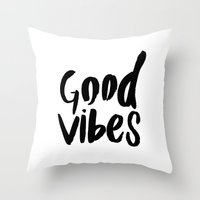 Good Vibes - Black And W… Throw Pillow