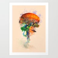 Jellyfish Ink Art Print
