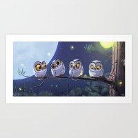 owls Art Prints featuring Owls by biboun
