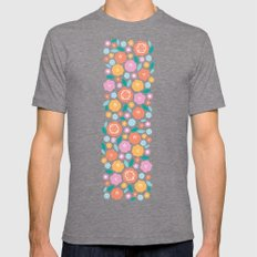 Cheerful Florals Mens Fitted Tee Tri-Grey SMALL