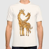 Henna Giraffe Mens Fitted Tee Natural SMALL