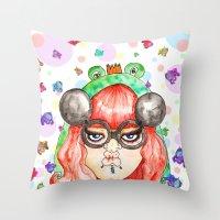 Miss Frog Throw Pillow