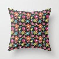 Dazzling Midnight [Flora… Throw Pillow