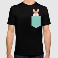 Teagan Glasses Corgi cute puppy welsh corgi gifts for dog lovers and pet owners love corgi puppies SMALL Mens Fitted Tee Black