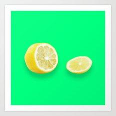 Lonely Sliced Lemon - Bright Spring Green Art Print