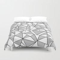 Abstraction Lines Black on White Duvet Cover