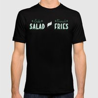 Side Salad or French Fries Mens Fitted Tee Black SMALL