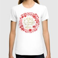Coffee On Charcoal Womens Fitted Tee White SMALL