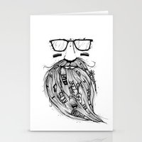 Beard Me Some Music (Black & White) Stationery Cards