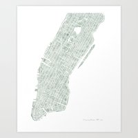 Map Manhattan NYC watercolor map Art Print