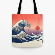 Tote Bag featuring The Great Wave Of Englis… by Huebucket