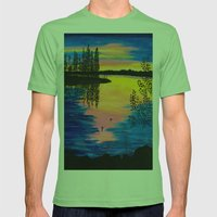 Dawn At The Lake Mens Fitted Tee Grass SMALL