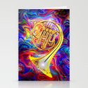 Psychedelic French horn Stationery Cards