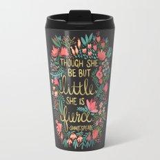 Little & Fierce on Charcoal Travel Mug