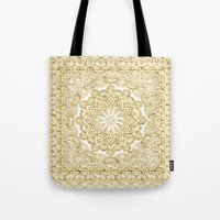 Orient Espresso Pattern Mandala Gold Tote Bag