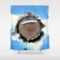 Around Tel Aviv Stereographic Panorama of Dizengoff Center Shower Curtain