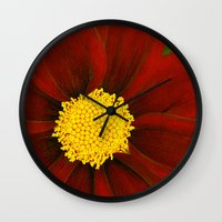 Ruby Coreopsis Wall Clock