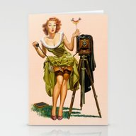 Stationery Cards featuring Vintage Camera Pinup Gir… by TilenHrovatic