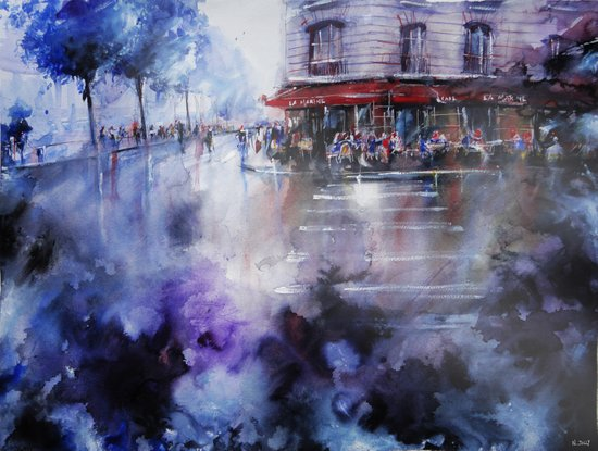 Paris painting - La Marine Art Print