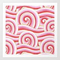 Red Auspicious Waves  Art Print