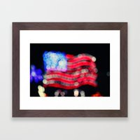 Red, White, and Bokeh Framed Art Print