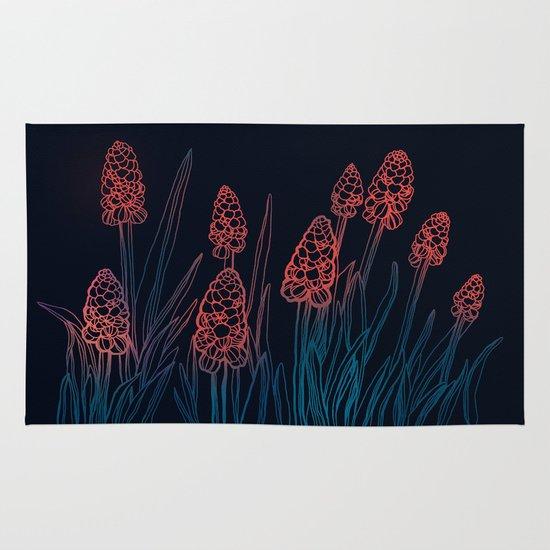 Hyacinths in the night Area & Throw Rug