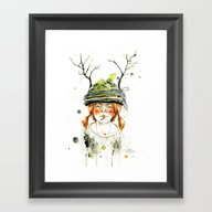 Framed Art Print featuring RED GIRL by Lora Zombie