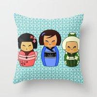 kokeshis (Japanese dolls) Throw Pillow