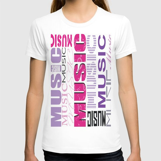 The Word Music In Purple and Pink T-shirt